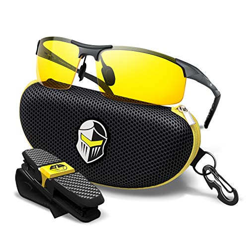 BLUPOND HD Night Vision Driving Glasses - Clear View Semi-Polarized Anti Glare Yellow Lens - Unbreakable Metal Frame with Car Clip Holder - Knight Visor (Titanium Frame)