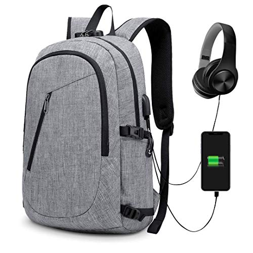 Anti-Theft Backpack, URMI Business Laptop Backpack with USB Charging Port Earphone Jack with Lock Water Resistant Bag Fits 15.6 inch Computer Daypack Rucksack for Work School College Student (Grey)
