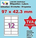 20 Planches de 12 étiquette autocollante 97 x 42.3 mm = 240 etiquettes - Blanc Mat - pour imprimantes Laser et Jet d'encre - Feuilles A4 autocollantes référence univers UGE12V04