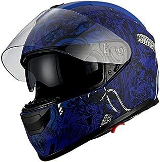 1Storm Motorcycle Full Face Helmet Dual Lens/Sun Visor Matt Skull Blue
