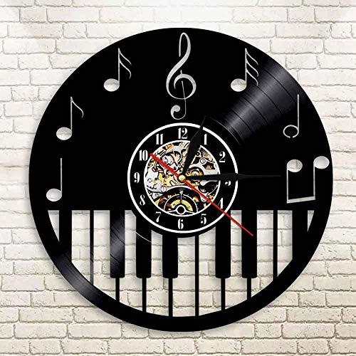 TJIAXU Disco de Vinilo Reloj de Pared partitura de música Piano Clave de Sol Nota decoración Teclado de Piano decoración del hogar Disco de Vinilo músico Arte Regalo