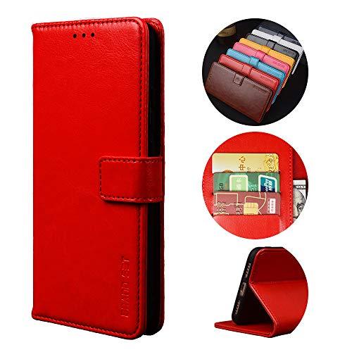 BaiFu Funda para Infinix S4 Billetera Carcasa con Flip Case Cover y Cierre Magnético y Función de Soporte Fundas Compatible Infinix S4-Rojo