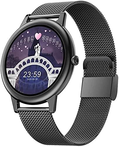 hwbq Relojes inteligentes para hombres y mujeres 1.09 pantalla táctil completa IP67 impermeable podómetro fitness Tracker reloj sueño Monitor reloj inteligente negro