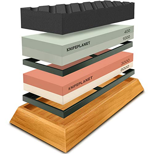 Knife Sharpening Stone Set – 400/1000 and 3000/8000-Grit Professional, Safe Knife Sharpener Set – Whetstone Set Includes Flattening Stone, Bamboo Base, and 2 Nonslip Rubber Bases by KnifePlanet