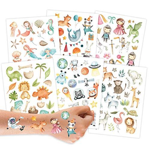 Papierdrachen 100 Tattoos zum Aufkleben - Hautfreundliche Kindertattoos Bunter Mix - kindgerechte Designs - als Geburtstagsmitgebsel oder Geschenkidee - Vegan