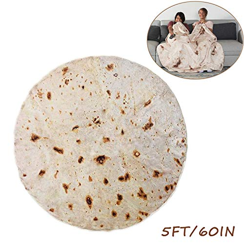 RAINBEAN Burrito Tortilla Blanket, Perfectly Round Novelty Blanket to be a Giant Human Burrito, Tortilla Throw Food Creation Wrap Blanket, Soft & Plush Giant Towel for Adults and Kids-5' Diameter