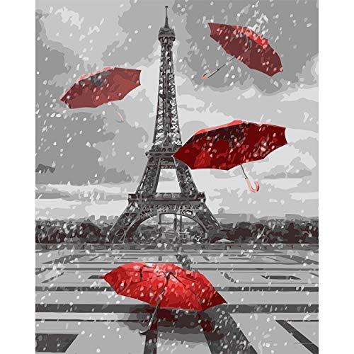 XINRANFF Pintar por numeros para Adultos - Cuadro de Pinturas por numeros con Pinceles y Colores Brillantes - Dibujos Lienzos por numeros,Torre Eiffel(Sin Marco 40 * 50cm)