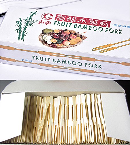 """900 Pieces - 3.5"""" Fruit Bamboo Fork,DearDo Mini Pastry Skewers Cocktail Appetizer Dessert Picks for Party, Banquet and Daily Life"""