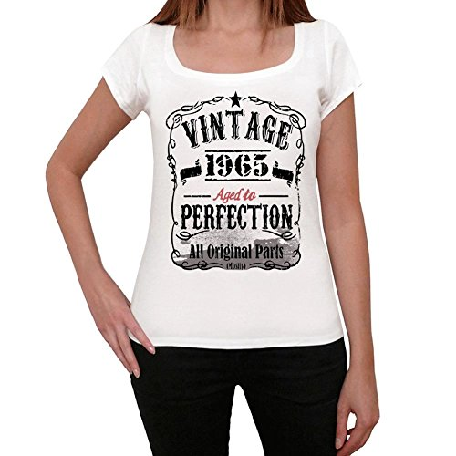 Cityone T Shirt Magliette Donna Estive 1965 Compleanno 55 Anni Regalo Vintage Aged to Perfection S Mel Bianca