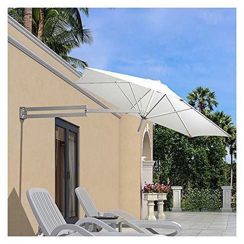 Sombrilla de Patio Sombrilla de Sombrilla de Pared para Balcón, Sombrilla de Patio Al Aire Libre con Poste de Aluminio, Sombrilla de Mercado con Dosel de 8 Pies con Protección Uv ( Color : Off-white )