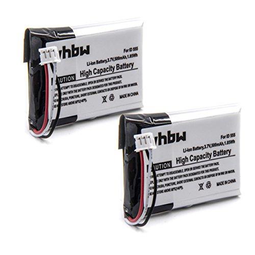 vhbw 2X Akku 500mAh (3.7V) für schnurlos Festnetz Telefon Grundig Scenos, Scenos A wie 5-2762, 5-2770, SL-422943.