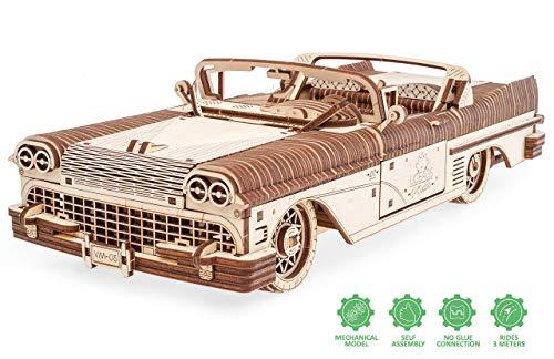 UGEARS 3D Puzzle für Erwachsene Traum Cabrio Technisches Modell Holzpuzzle Denksport Modellbau Bausätze für Erwachsene DIY Puzzle Lernspielzeug für Kinder Holzkunst Cabriolet Auto Baukasten Set
