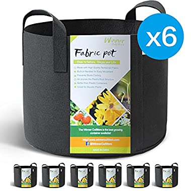 WINNER OUTFITTERS 6-Pack 7 Gallon Grow Bags/Aeration Fabric Pots With Handles