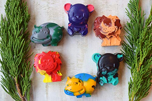 Handmade Shaped Crayons Set of 6 Animal Kids Farm Zoo Animal Party Favors Recycled Crayon Allergy Free Toddler Pen Pencil Invitation Gifts Ideas Baby Shower Childrens Crafts Woodland African Preschool