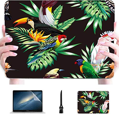Funda para Macbook 13 Pulgadas Animales Tropicales Aves Loro Guacamayo y tucán en Carcasa rígida de plástico Compatible con Mac Macbook Air Funda Protectora Accesorios para Macbook