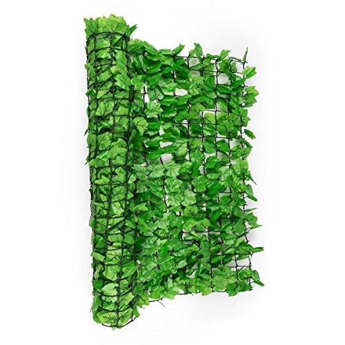 Valla de protección Visual y Anti Viento (Malla sombreo 300x100 cm, Cubierta Exterior sombreadora, Pantalla privacidad balcón terraza jardín, imitación Hiedra Verde Claro)
