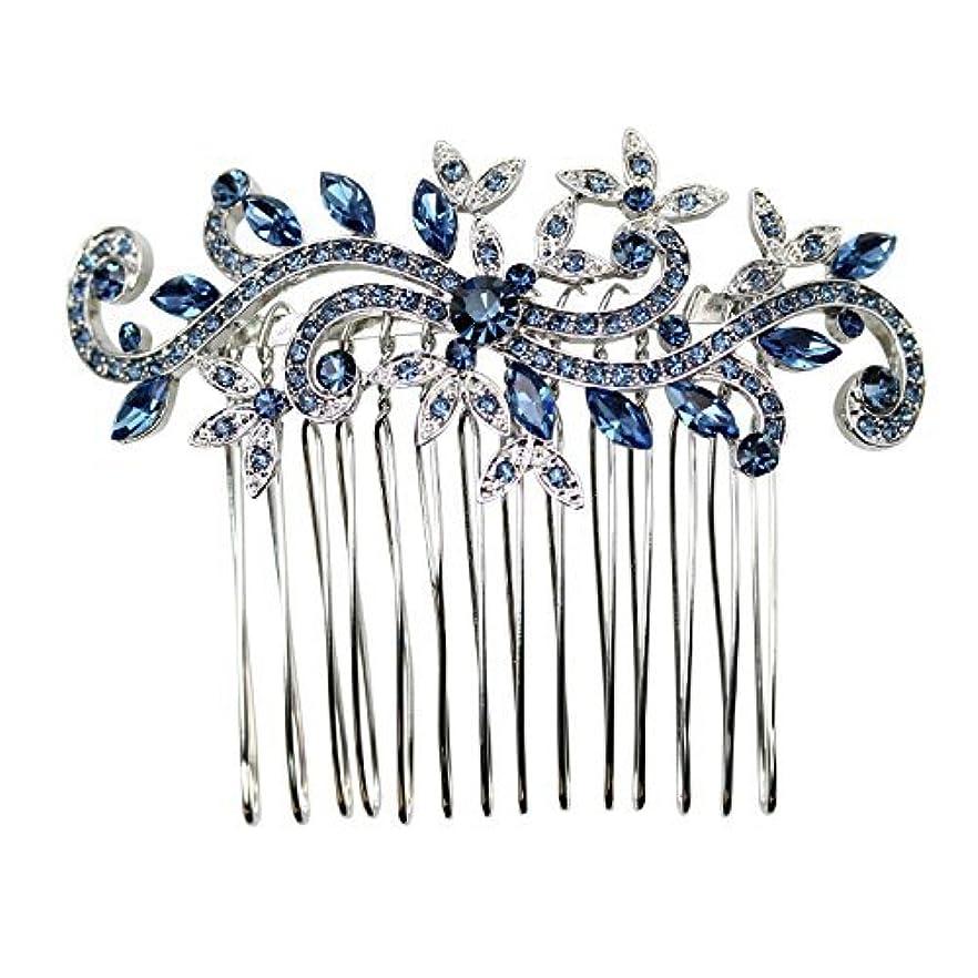 大胆な一般化するカートンFaship Gorgeous Navy Blue Crystal Floral Hair Comb [並行輸入品]