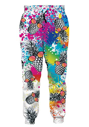 Mens Athletic Fit Joggers Pants All Over Print Baggy Track Polo Trousers Novelty Pineapples with Glasses Fashion Stylish Sportwear Slacks for Male Guys Big Boys Casual Wear