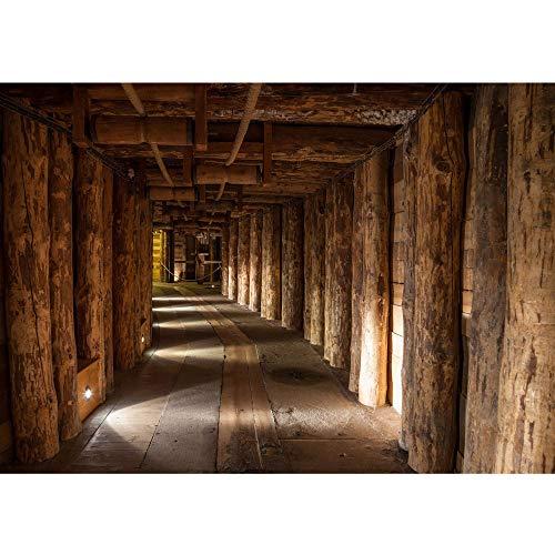 Vlies Fototapete 350x245 cm PREMIUM PLUS Wand Foto Tapete Wand Bild Vliestapete - SALT MINE - Salzbergwerk Bergwerk Holz Bergwerk Stollen Untertage rustikal Balken - no. 027