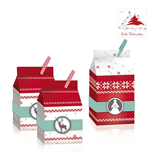 OLShop AG Adventskalender zum Befüllen 24 Nordic Bags inkl. 25 Geschenkanhänger, 24 Boxen, Schachteln Weihnachtskalender zum Selbstbefüllen