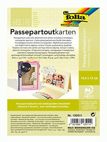 folia 130511 - Passepartouts mit rechteckiger Stanzung, ca. 10,5 x 15 cm, 5 Karten (220 g/qm) und Kuverts, strohgelb - ideal für Einladungen, Glückwunsch- oder Grußkarten