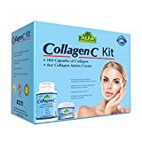 CollagenC - Collagen Kit 2 Pieces - Collagen Hydrolysate Capsules - Collagen Amino Cream - Anti Aging - Anti Wrinkle - Double the benefits through oral intake and skin rejuvenating cream - Promotes healthy skin