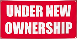 Vinyl Banner Multiple Sizes Under New Ownership Advertising Printing M Business Outdoor Weatherproof Industrial Yard Signs Red 4 Grommets 16x40Inches