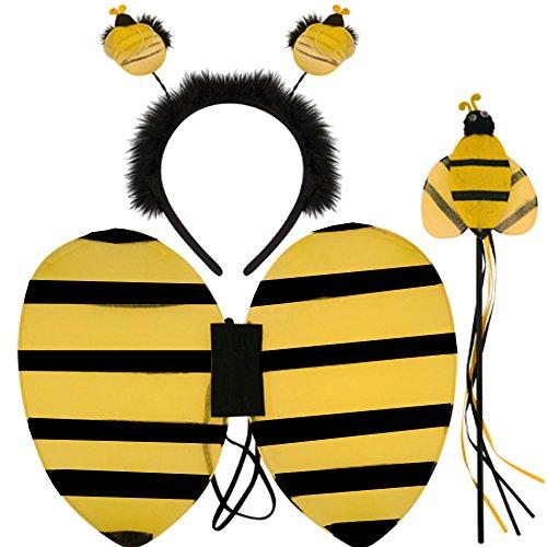German Trendseller® - Bienen - Set ┃ Flügel + Fühler + Zepter ┃ Kostüm Set ┃ Honig Sammler ┃ Karneval / Fasching