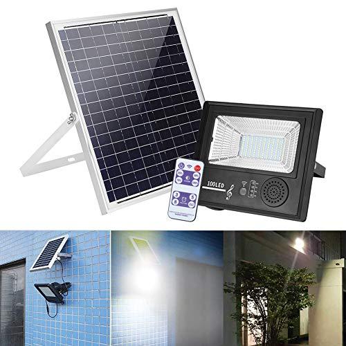 Foco LED Exterior Musical Solar Proyector con Control Remoto Impermeable Brillo Ajustable Función de Temporización Luz de Seguridad con Altavoz para Caminos, Jardíns, Estacionamientos 18W