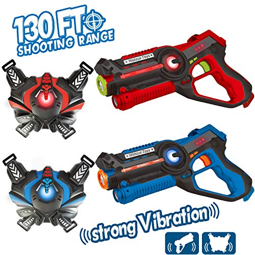HISTOYE Laser Tag Sets with Gun and Vest Infrared Blasters Battle Mega Laser Tag Guns for Kids Teenager 2 Player Lazer Tag Gun Toys for 4 5 6 7 8 9 10 11 12+ Year Old Boys Family Fun Girls (2 Pack)