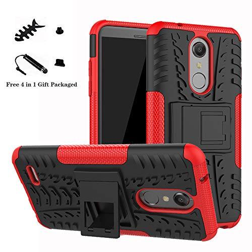 LiuShan LG K10 2018 Hülle, Dual Layer Hybrid Handyhülle Drop Resistance Handys Schutz Hülle mit Ständer für LG K10 2018 Smartphone(mit 4in1 Geschenk verpackt),Rot