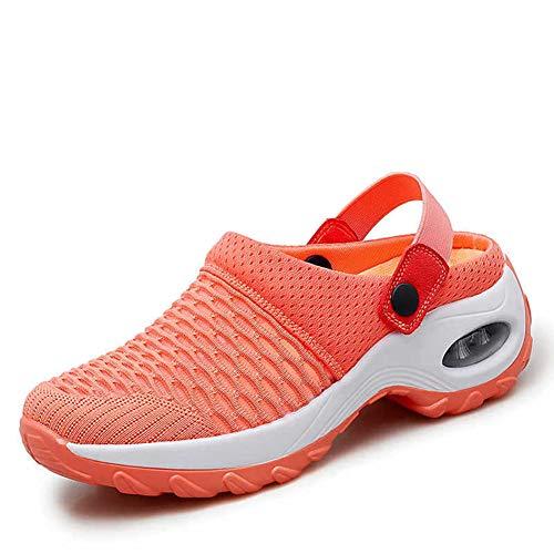 Cómodos Antideslizantes Zapatillas, Sandalias Ortopédicas Zapatos Ligero Cojín Transpirables Moda Running Fitness Caminar, Extra Anchos Ajustables Ancianos Unisex,D,37