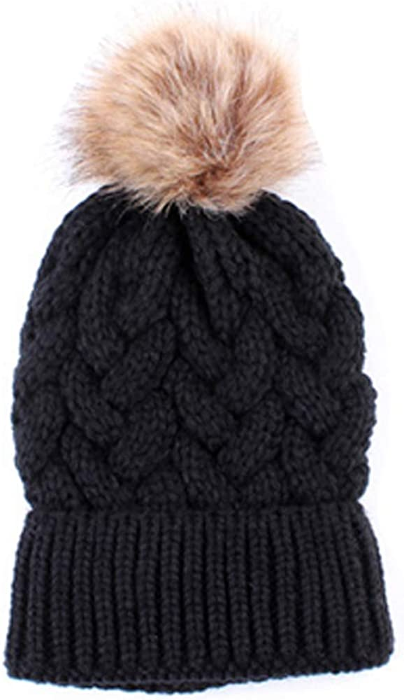 Roots and Lace Women's Breathable & Waterproof Knitted Beanie Hat with Fur Pom Pom
