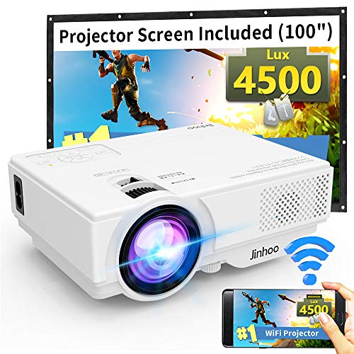 "WiFi Mini Projector, 2020 Latest Update 4500 Lux [100"" Projector Screen Included] Supported 1080P Synchronize Smartphone Screen by WiFi/USB Cable, Support TV Stick, HDMI, USB, SD, Sound Bar"