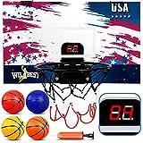Wilbest Mini Basketball Hoop, Over The Door Basketball Hoop with Electronic Scoreboard Indoor Basketball Hoop for Door Wall Basketball Hoop Toy