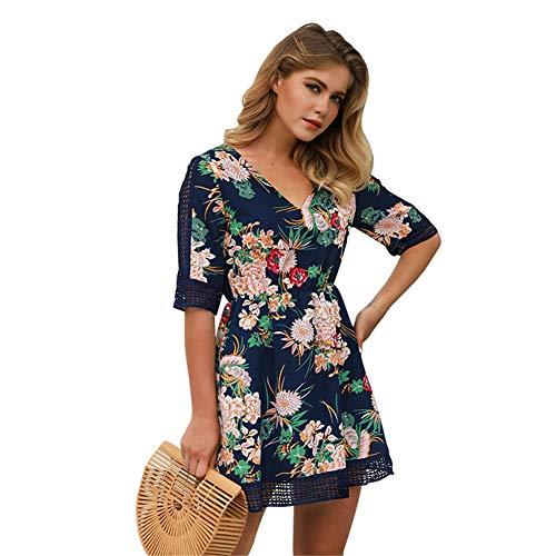 Z-SANMAO Frauen Mini Swing Kleid Crossover Print Plus Size Cocktailparty Sexy Langarm Abend Lässige...