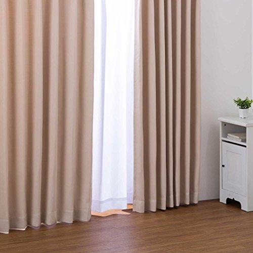 カーテン形状記憶加工3級遮光カーテンフルダル無地アイボリー幅100cm×丈178cm2枚入