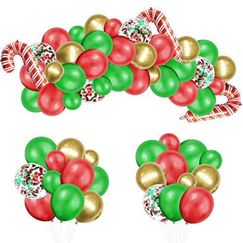 Christmas Balloon Arch Garland Kit 89 Pack, EXV Red Green Confetti Balloons with Christmas Candy Cane Balloon for Kids Christmas Theme Party Background Classroom Decorations