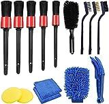 15 Piezas Cepillo de Limpieza de Coche, Contiene Cepillo Llantas, Cepillo de Detalle y Guantes de Lavado de Autos, Utilizados para Moto, para Lavado Interior y Exterior de Coche