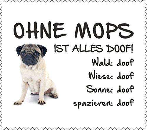 AdriLeo Brillenputztuch Displaytuch - Ohne Mops ist Alles doof! - Mops BEIGE 2-15x17cm