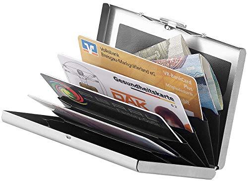 Xcase Scheckkartenetui: Flaches RFID-Kartenetui aus Edelstahl für 6 Chipkarten, silbern (Kreditkartenhalter)