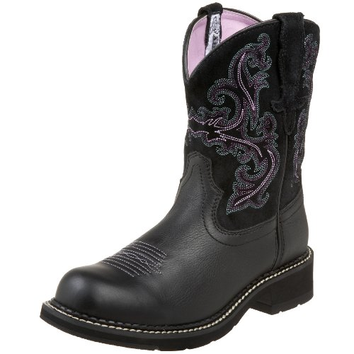 ARIAT Damen Fatbaby Collection Western Cowboystiefel, Black Deertan/Orchidee, 39 EU