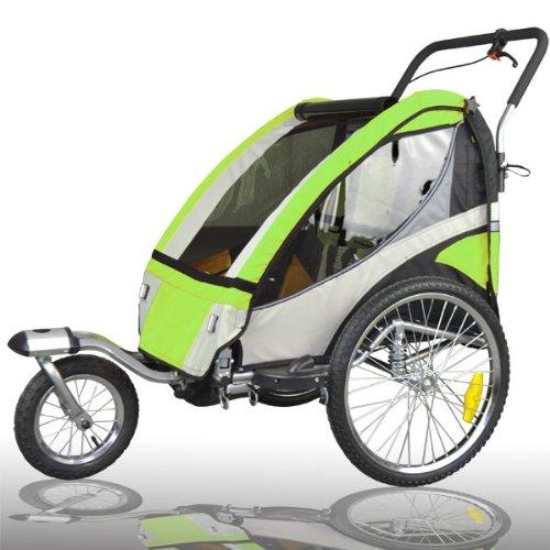 504S-02, rimorchio per bici per il trasporto di bambini con funzione passeggino