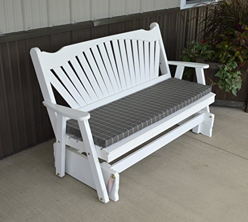 White 5' Porch Glider Bench Wooden - Fanback Designer Detail - Solid Wood - Custom Amish Made in The USA - Outdoor Patio Furniture for Porches and Entryways (White)