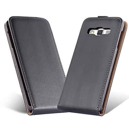 Cadorabo Coque pour Samsung Galaxy A5 2015 en Noir DE Jais - Housse Protection en Style Flip en Similicuir Lisse - Etui Poche Folio Case Cover