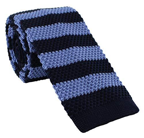 Strickkrawatte aus Seide, gestreift, Marineblau / Blau