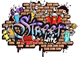 Plage Decoración Mural Adhesiva Gigante-Street Life Grafiti, Vinilo, Multicolor, 100x3x140 cm