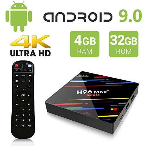 Android 9.0 TV Box, H96 Max+ 4GB 32GB RK3328 Smart TV Box Support H265 VP9 Video Decoding 2.4G 5G WiFi BT100M LAN USB3.0 KD18 4K Android Box