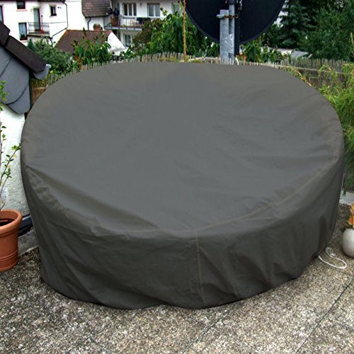 Sonneninsel Schutzhülle Oval 235cm Anthrazit Premium WASSERDICHT Liegeinsel Liege Abdeckplane Abdeckung Plane Rattan Garten Möbel Haube Hülle - 3