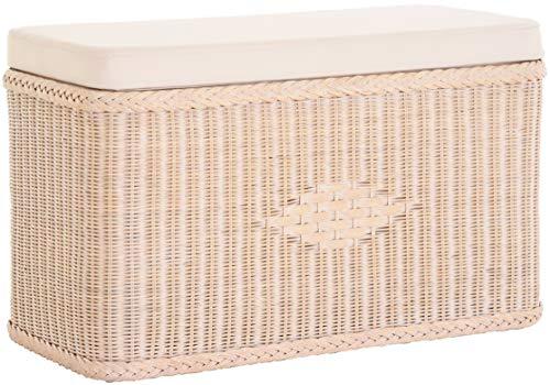 korb.outlet Sitztruhe aus Rattan/Truhenbank/Wäschetruhe mit gepolsterten Sitz/in der Farbe Vintage Weiss